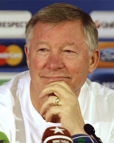 Sir Alex Ferguson speaking to the press in Moscow yesterday