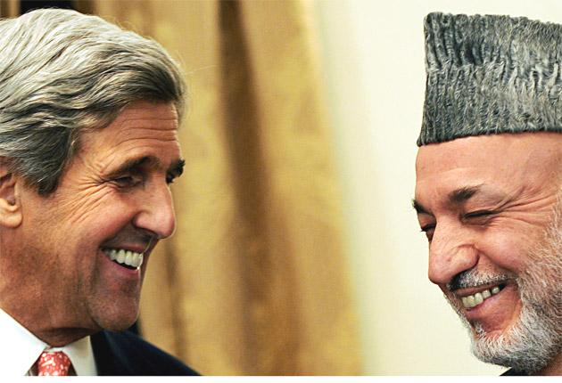 US Senator John Kerry with Hamid Karzai