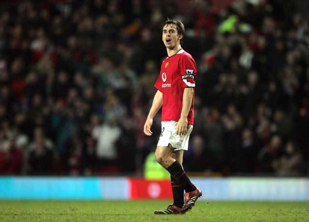 <b>MANCHESTER UNITED 1 LIVERPOOL 0</b><br/> <b><i>Premier League, January, 2006</i></b><br/> Not the most pulsating of matches but highly memorable for the antics of Gary Neville. Djibril Cisse had the best chance of a match that only sparked to life in d