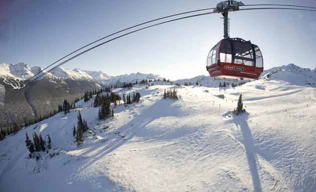 Tip top: the Peak 2 Peak gondola passing between Whistler and Blackcomb mountains in British Columbia