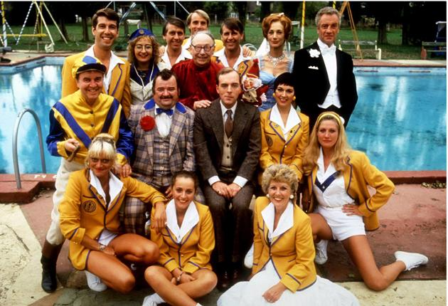 'I'm a turn, not an actor': Bowness, far left in jockey's silks, with the rest of the cast of 'Hi-de-Hi!'