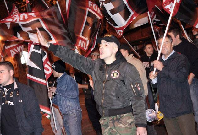 The Italian fascist organisation Forza Nuova demonstrating on the streets of Rome. Britain's racists are nowhere near as numerous or as vocal