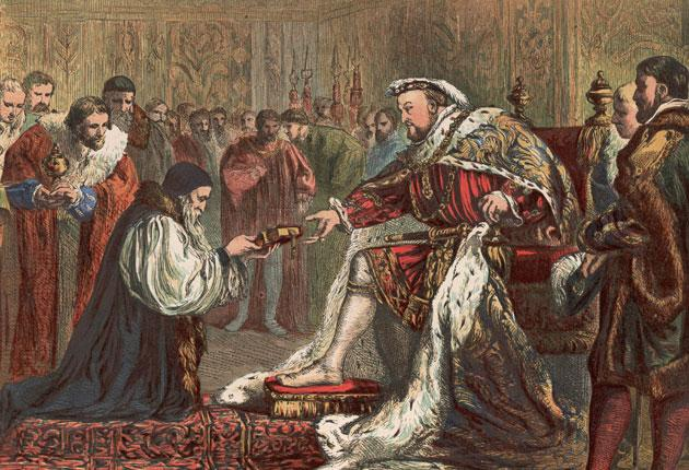 Full circle: Henry VIII accepts a Bible from Protestant reformer Hugh Latimer in around 1535. Now the road back to Rome is wide open