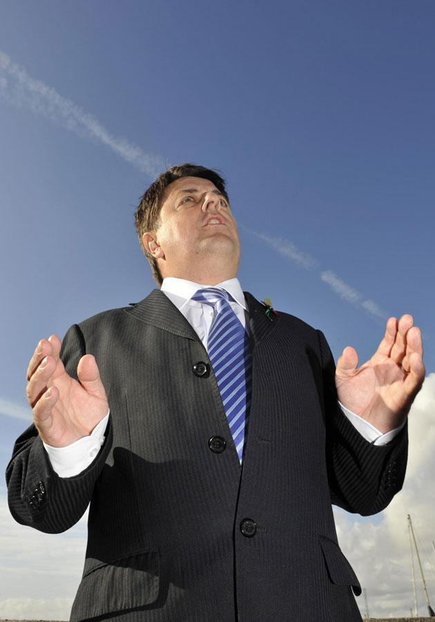 Nick Griffin, the leader of the British Nationalist Party, talks to the media during a visit to Essex following his appearance on Question Time