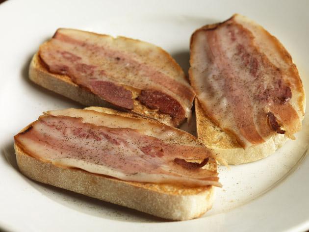 Cured pork cheek on toasted sourdough