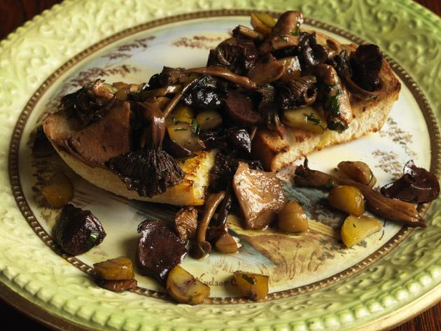 Woodland mushrooms with chestnuts