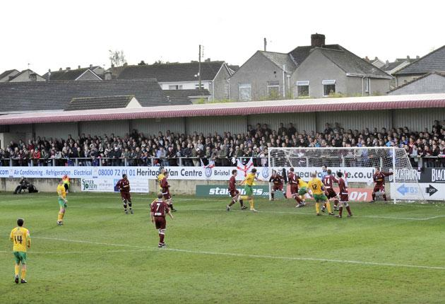 The terraces and terraced houses provide the backdrop for Paulton's big day in the Cup