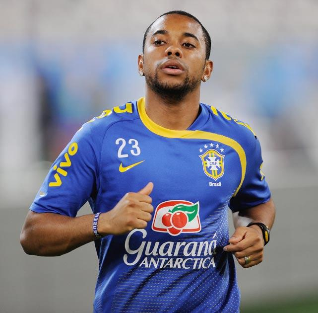 Robinho pictured training with the Brazil squad today