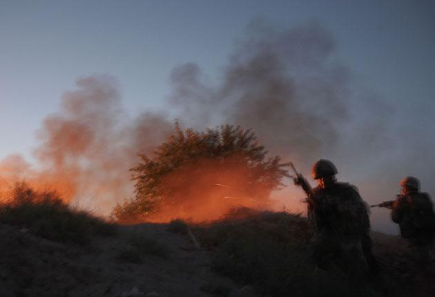 British forces in action in Zumbelay, Helmand