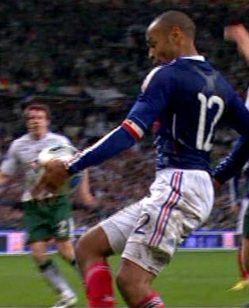 <b>Le hand of god</b><br/> Thierry Henry's assist in the World Cup qualifier against Ireland goes straight into our countdown of controversial goals. <br/> With the game in extra-time and on a knife edge, the Barcelona man used his hand to caress the ball