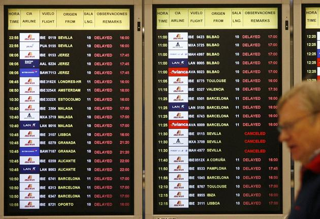 The screens show the delayed flights at Barajas Airport in Madrid on January 9, 2009 as heavy snowfall grounded airplanes. Madrid's Barajas airport, which was closed earlier today due to a rare heavy snowfall, was due to partially reopen as weather condit