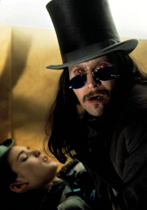 In the 1992 film Dracula, Mina Harker (Winona Ryder) is transformed into a vampire by Gary Oldman's lovelorn count