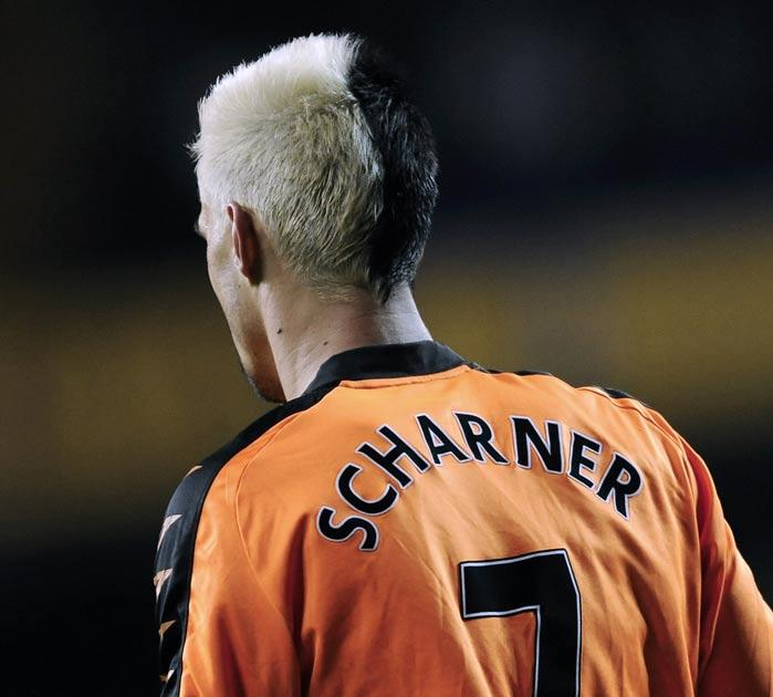 The only thing worse than Scharner's half and half haircut was Wigan's orange away strip