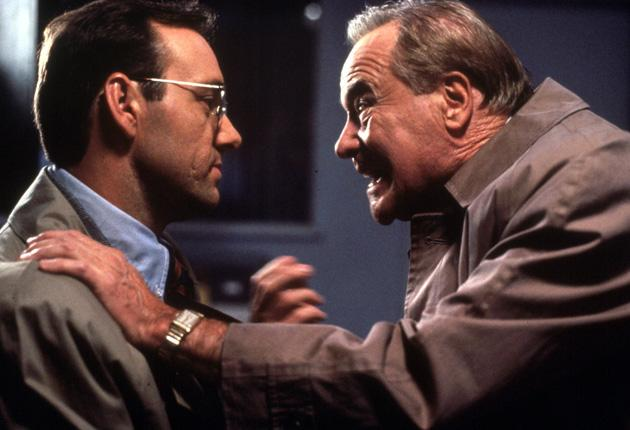 Jack Lemmon, playing an estate agent, confronts his boss (Kevin Spacey) in Glengarry Glen Ross (1992 )