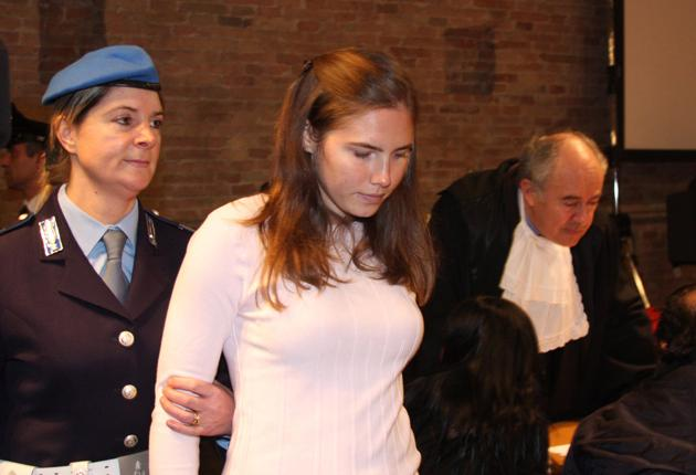 Amanda Knox arrives for her trial in a Perugia court yesterday