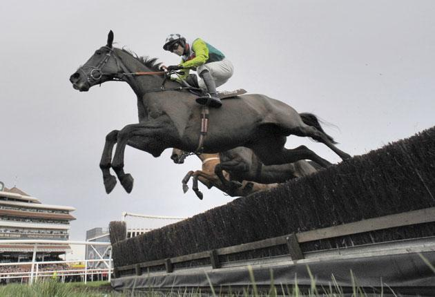 Ruby Walsh and Denman clear the water on their way to an astonishing victory in the Hennessy Gold Cup