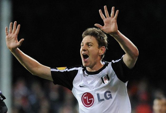 Fulham's Zoltan Gera celebrates his goal against CSKA Sofia in the Europa Cup at Craven Cottage last night