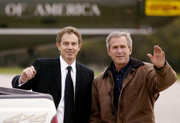 Tony Blair and George Bush at the President's Crawford ranch in April 2002
