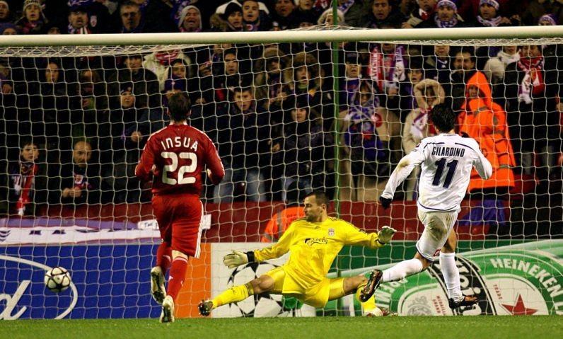 Fiorentina's Alberto Gilardino scores his sides winning goal at Anfield