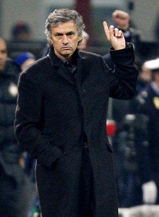 Jose Mourinho gestures during Inter's win over Rubin Kazan.
