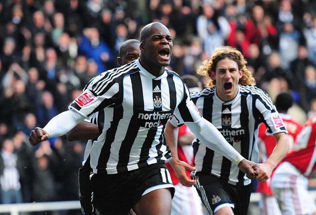 Marlon Harewood celebrates opening the scoring for Newcastle yesterday