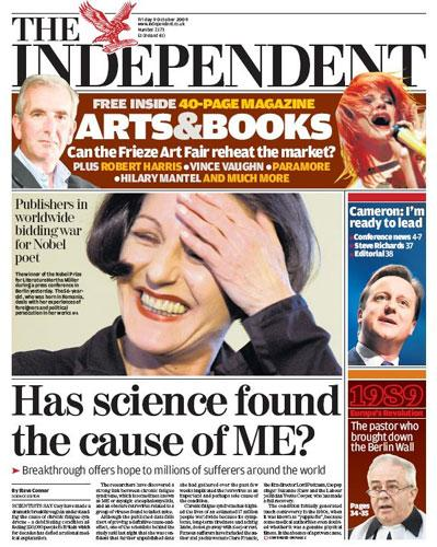 How The Independent reported the ME 'breakthrough' on 9 October