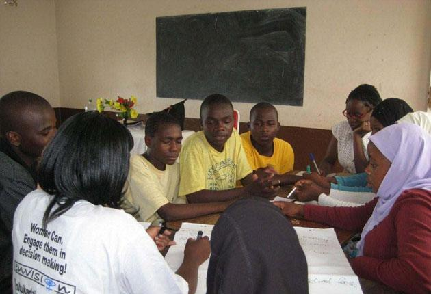 A Cool Heads meeting, at which youth camp survivors explore their values and discover their potential