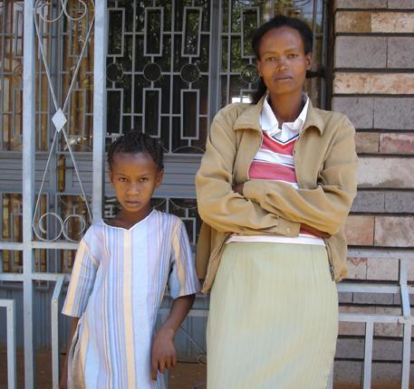 Hanna Abera with her aunt, Tijitu Obsu, who saved the seven-year-old from being circumcised