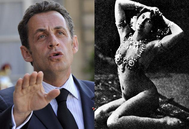 Nicolas Sarkozy wants to bring the French espionage trade into line; right, Mata Hari, the most famous female spy, executed in France in 1917