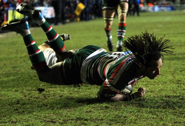 Leicester Tigers' Lote Tuqiri scores his second try during his side's demolition of Wasps at Welford Road on Saturday