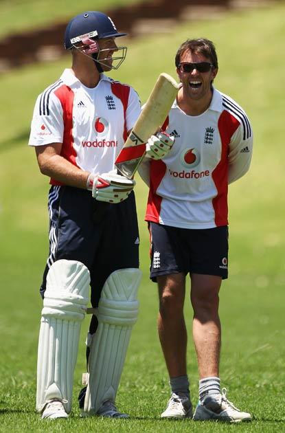 Matt Prior and Graeme Swann share a joke