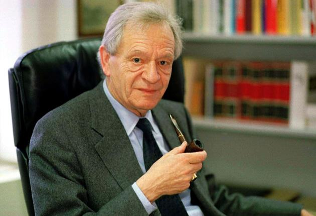 Bergier in 1996, on the day the nine members of his Independent Commission of Experts were appointed
