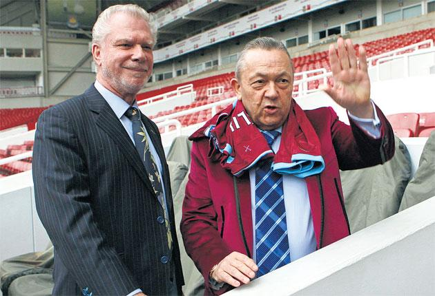 David Gold (left) and David Sullivan at Upton Park yesterday to announce their takeover of Premier League strugglers West Ham