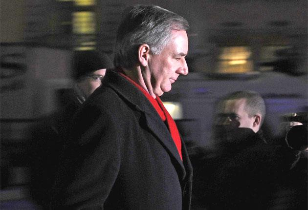 Geoff Hoon leaves the Chilcot Inquiry in London yesterday