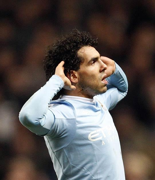 Tevez scored twice to give City the advantage