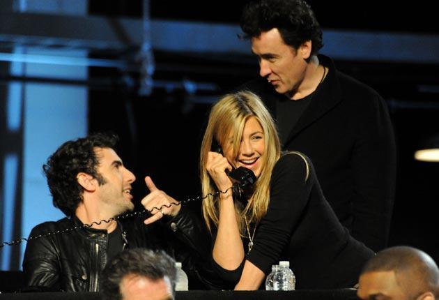 Sacha Baron Cohen, Jennifer Aniston and John Cusack at the telethon
