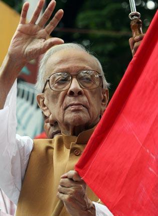 Basu at a protest in Kolkata in 2006