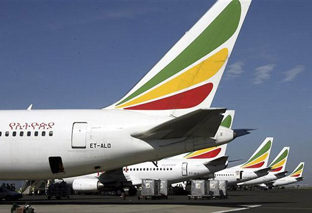 Ethiopian Airlines planes are seen at the airport in Addis Ababa, capital of Ethiopia. An Ethiopian Airlines plane with 90 people on board crashed into the sea on 25 January 2010 just minutes after take-off from Beirut