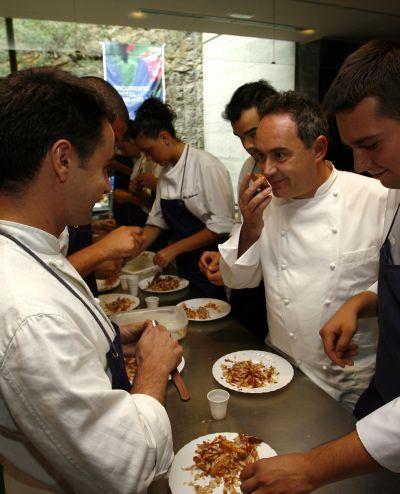 Spanish Chef Ferran Adria in the kitchen of El Bulli restaurant