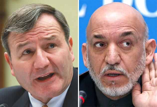Karl Eikenberry, left, America's ambassador in Afghanistan, was scathing in his criticism of President Hamid Karzai