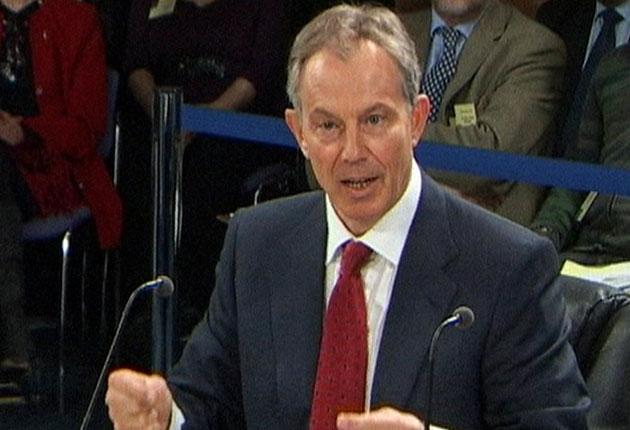 Tony Blair speaks at the Chilcot inquiry