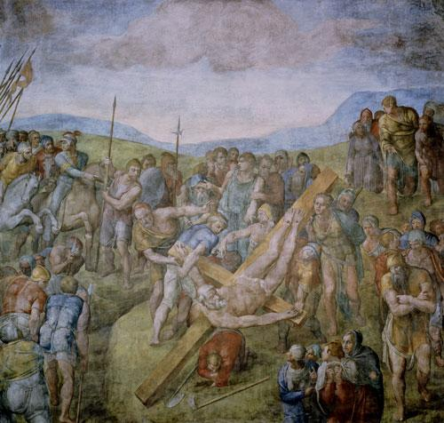Michelangelo had intended The Crucifixion of St Peter to depict the foremost Apostle and first Pope to be volunteering for martyrdom