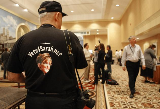 Retired US Air Force Colonel OP Ditch shows his support for Sarah Palin at the National Tea Party Convention in Nashville.