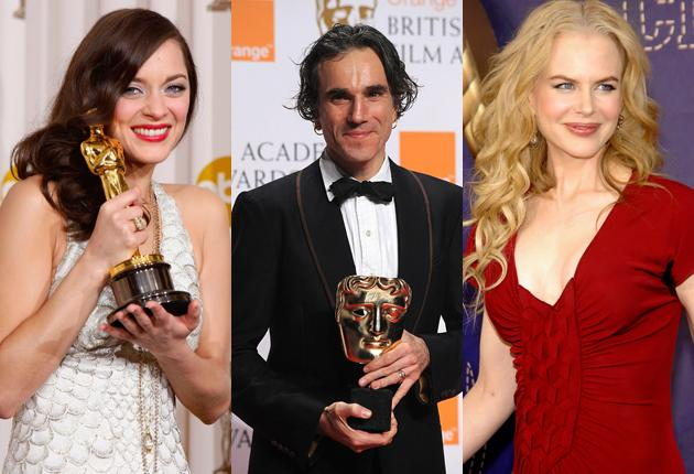 From left, double winners Marion Cotillard, Daniel Day-Lewis, Nicole Kidman