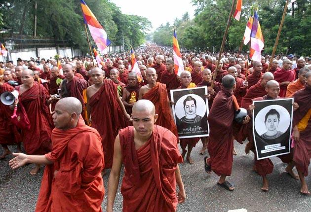 Buddhist monks lead a march through Rangoon in 2007 in the greatest unrest seen by the country for 20 years