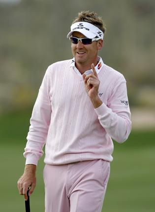Ian Poulter celebrates on the way to winning the WGC World Match Play Championship at the weekend