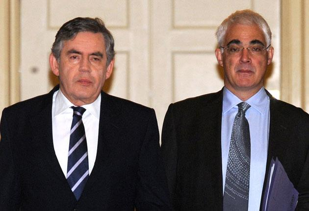 Conservatives claim that Gordon Brown is 'at war' with Alistair Darling