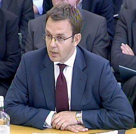 Andy Coulson giving evidence to the Culture committee last year. It said he was right to resign as Editor of the News of the World over phone hacking