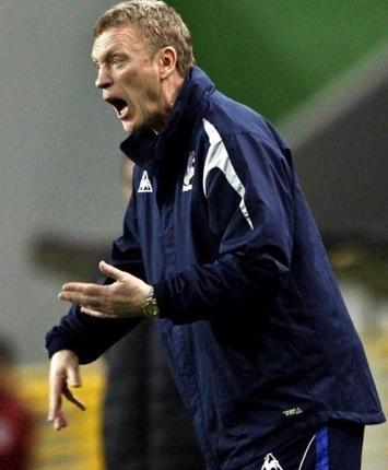 David Moyes bellows orders to his Everton side last night