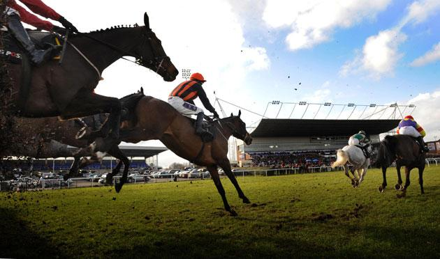 Razor Royale (stripes) and jockey Paddy Brennan on their way to victory in Kempton's Racing Post Chase